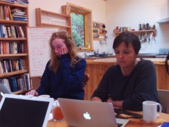 Sarah and Julie working on the blog