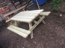 Sandy picnic table