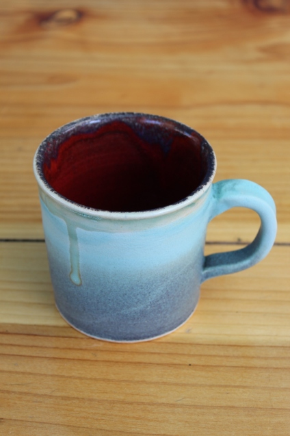 Blue mug with drip small